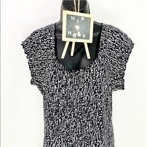 MICHAEL KORS Printed Dress Black White Size Medium